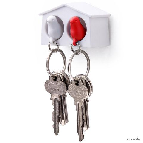 """Брелок-свисток и держатель двойной для ключей """"Mini Sparrow"""" (белый/красный)"""