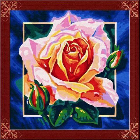 """Картина по номерам """"Розовая роза"""" (400х400 мм)"""