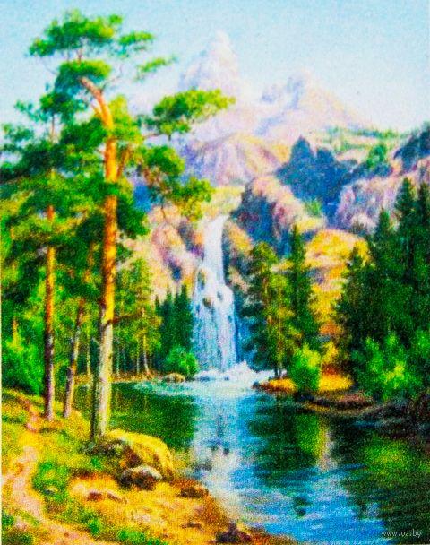 """Алмазная вышивка-мозаика """"Горный водопад"""" (300x400 мм) — фото, картинка"""