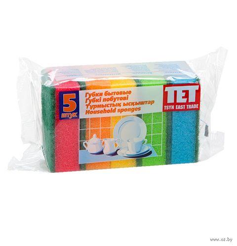 """Губка для мытья посуды """"Tet"""" (5 шт.; 80х55х28 мм) — фото, картинка"""