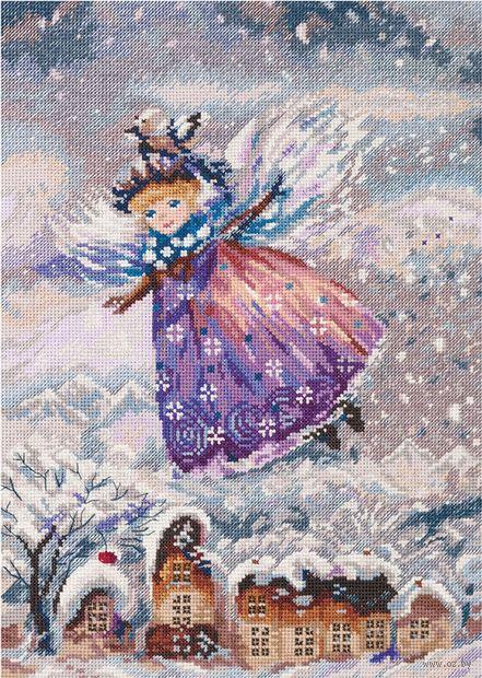 """Вышивка крестом """"Зимний ангел"""" (225х315 мм) — фото, картинка"""