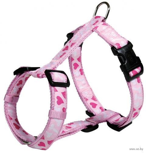 """Шлея для собак """"Modern Art H-Harness Rose Hearts"""" (размер XS-S; 30-40 см; розовый)"""