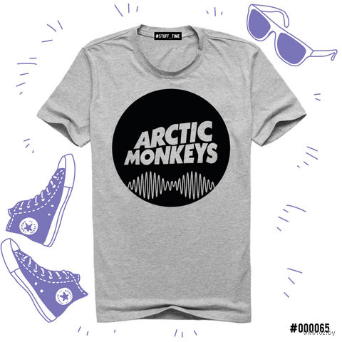 "Футболка серая унисекс ""Arctic Monkeys"" L (065)"