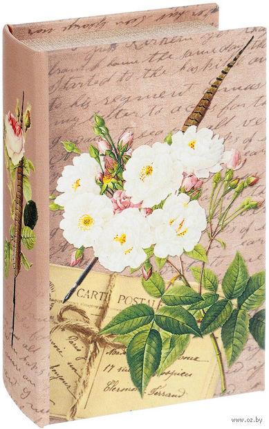 """Шкатулка-сейф декоративная """"Белые розы"""" (17х11х5 см; арт. 39511) — фото, картинка"""