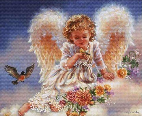 "Вышивка крестом ""Ангел с птичками"" (333x278 мм) — фото, картинка"