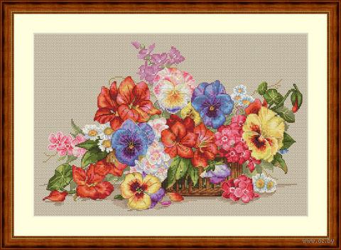 """Вышивка крестом """"Садовые цветы"""" (350х230 мм) — фото, картинка"""