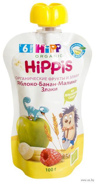 "Детское пюре Hippis ""Яблоко-банан-малина-злаки"" (100 г) — фото, картинка"