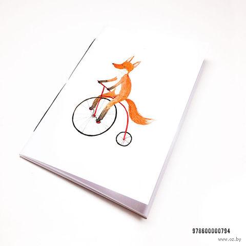 """Блокнот белый """"Лиса на велосипеде"""" А7 (794)"""
