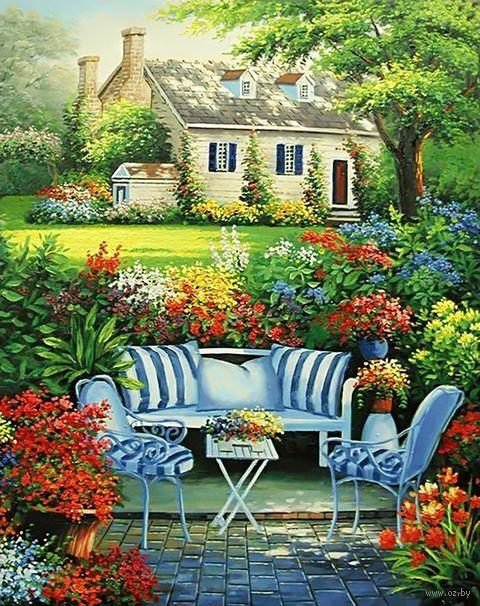 """Алмазная вышивка-мозаика """"Уютный цветник"""" (380х480 мм) — фото, картинка"""