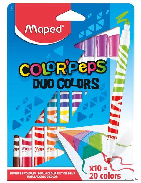 """Фломастеры двухсторонние """"Color Peps Duo"""" (10 шт.; 20 цветов) — фото, картинка"""