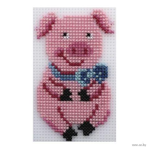 "Вышивка крестом ""Свинка"" (65х113 мм) — фото, картинка"