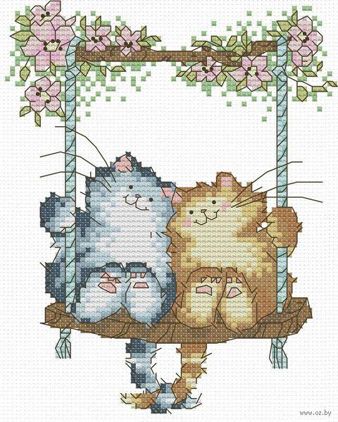 """Вышивка крестом """"Влюбленные кошки"""" (120х150 мм) — фото, картинка"""