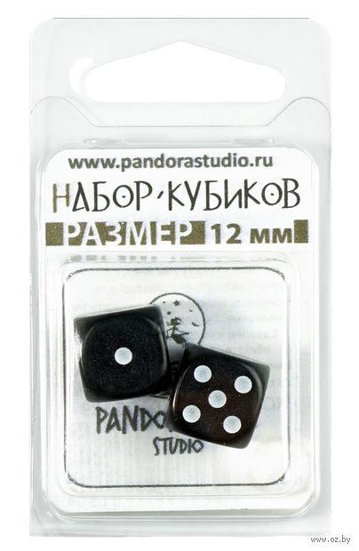 """Набор кубиков D6 """"Симпл"""" (12 мм; 2 шт.; чёрный) — фото, картинка"""
