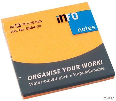 """Бумага для записей на клейкой основе """"Info notes"""" (оранжевый неон; 75 x 75 мм; 80 листов)"""
