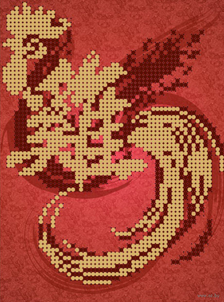 "Вышивка бисером ""Огненный петух"" (120х160 мм; арт. РС-375) — фото, картинка"
