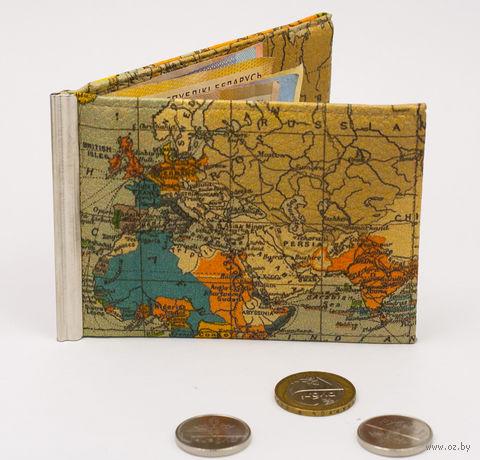 "Зажим для денег с монетницей ""Карта мира"" — фото, картинка"