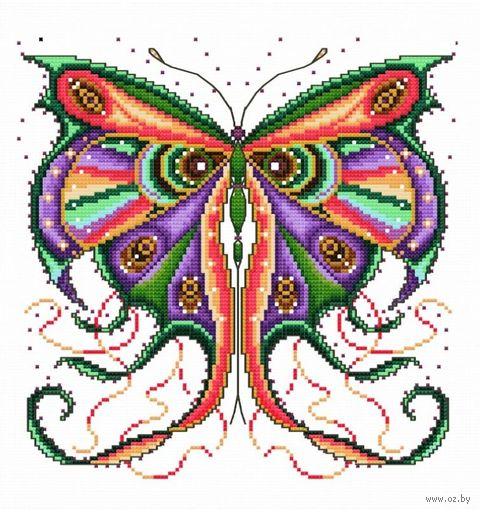 "Вышивка крестом ""Кружевная бабочка"" (220x220 мм) — фото, картинка"