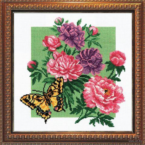 """Вышивка крестом """"Пионы с бабочкой"""""""