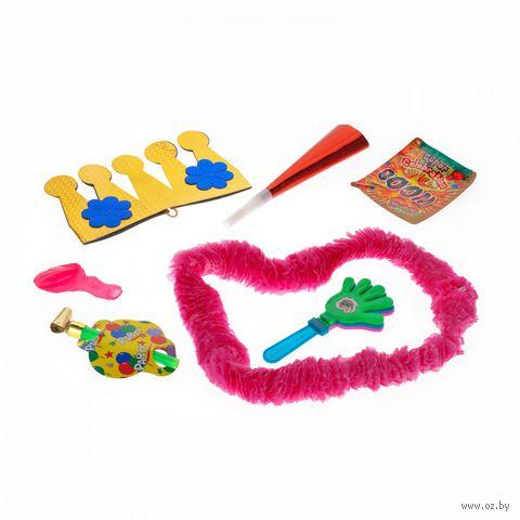 Набор карнавальный (конфетти, шарик, украшение на шею, дудка, язычок, корона) — фото, картинка