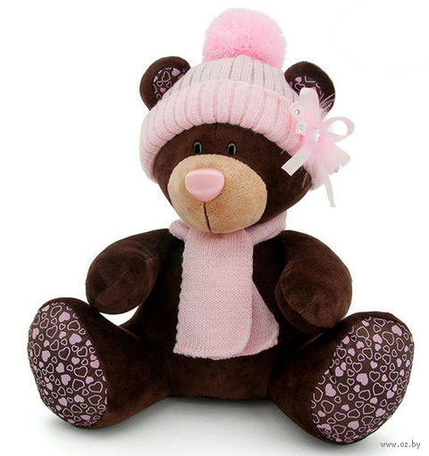 """Мягкая игрушка """"Медведь Milk в розовой шапке"""" (30 см)"""