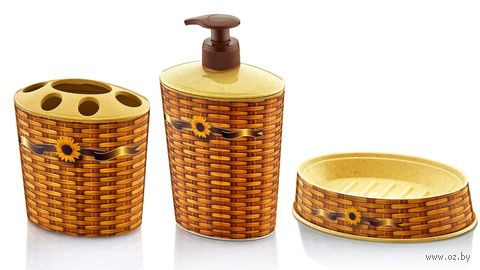 Набор для ванной пластмассовый (3 предмета; арт. D046-X07)