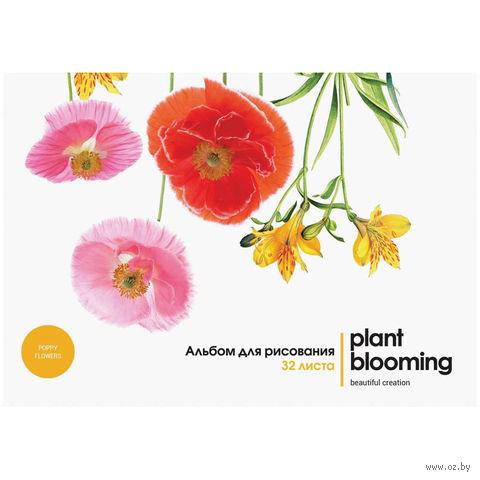 """Альбом для рисования на склейке А4 """"Цветы. Plant Blooming"""" (32 листа)"""