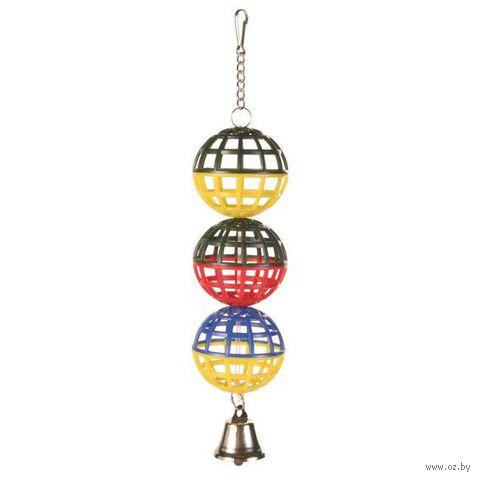 """Игрушка для птиц """"Шарики с колокольчиком"""" (16 см)"""