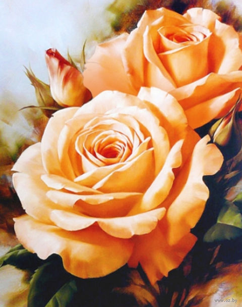 """Алмазная вышивка-мозаика """"Чайные розы"""" (400х500 мм) — фото, картинка"""