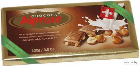 """Шоколад молочный """"Alprose. С цельными лесными орехами"""" (100 г) — фото, картинка"""