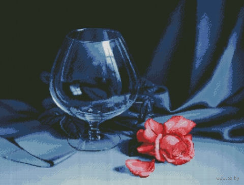 """Алмазная вышивка-мозаика """"Бокал и роза"""""""
