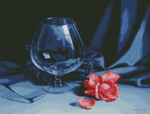 "Алмазная вышивка-мозаика ""Бокал и роза"" (680х520 мм) — фото, картинка"