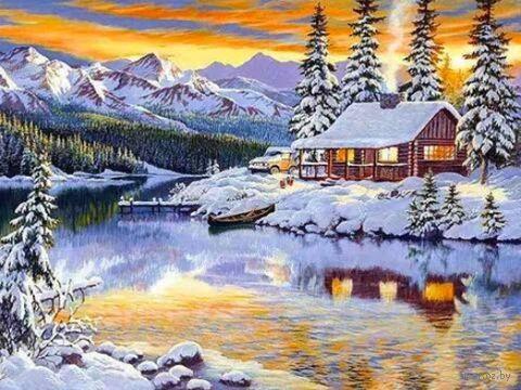 """Алмазная вышивка-мозаика """"Зимний домик у реки"""""""