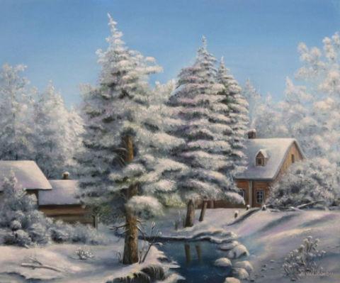 "Алмазная вышивка-мозаика ""Морозный пейзаж"" (500х400 мм) — фото, картинка"