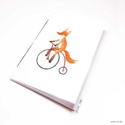 """Блокнот белый """"Лиса на велосипеде"""" А6 (794)"""