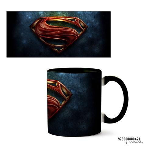"""Кружка """"Супермэн из вселенной DC"""" (черная; арт. 421) — фото, картинка"""
