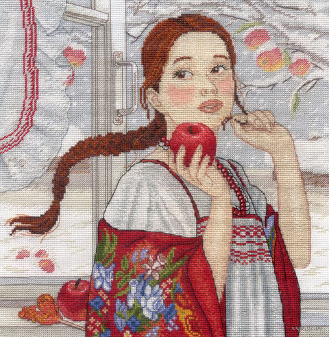 """Вышивка крестом """"Зимняя красавица"""" (250х250 мм) — фото, картинка"""