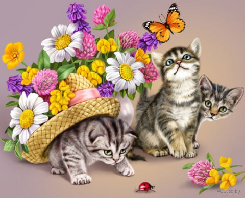 "Алмазная вышивка-мозаика ""Три котенка"" (400х500 мм) — фото, картинка"