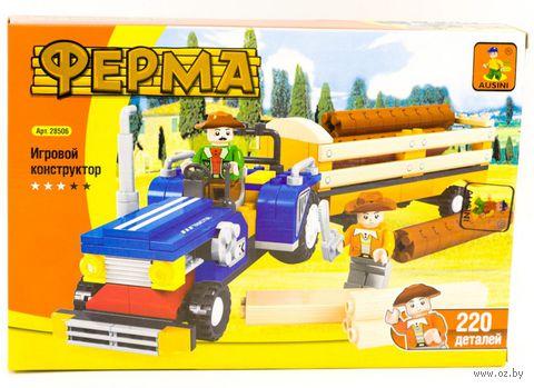 """Конструктор """"Ферма. Трактор с тележкой"""" (220 детали) — фото, картинка"""