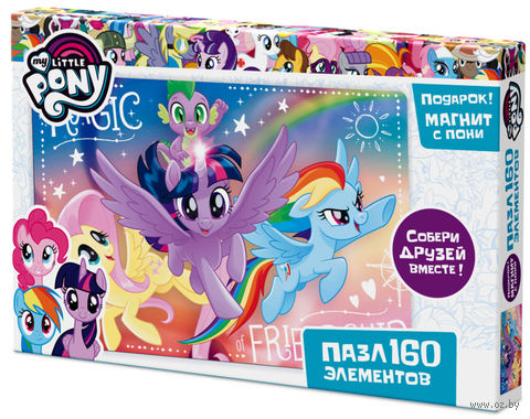 "Пазл ""My Little Pony. Флаттершай, Сумеречная Искорка и Радуга Дэш"" (160 элементов) — фото, картинка"
