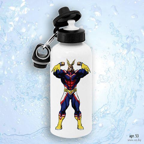 """Бутылка для воды """"Моя геройская академия. Всемогущий"""" (600 мл) — фото, картинка"""