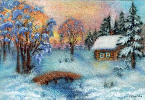 "Картина из шерсти ""Зимнее великолепие"" — фото, картинка"