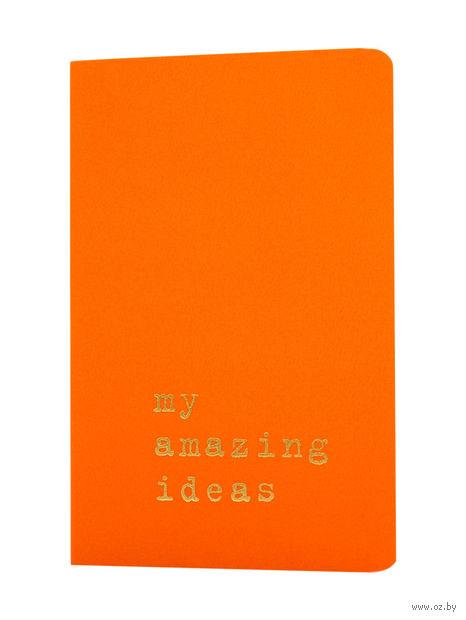 """Записная книжка Молескин """"Volant. My Amazing Ideas"""" нелинованная (карманная; мягкая оранжевая обложка)"""