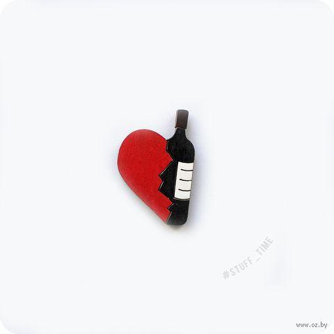 """Значок деревянный """"Любовь к винишку"""" (арт. 530) — фото, картинка"""