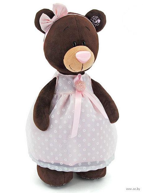 """Мягкая игрушка """"Медведь Milk в платье с брошью"""" (35 см)"""