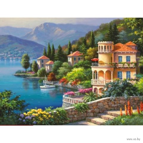"Алмазная вышивка-мозаика ""Озеро Комо"" (400х300 мм) — фото, картинка"