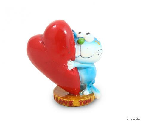 "Статуэтка пластмассовая ""Кот с сердцем "" (8,8х5,5х9,5 см; арт. ZH76947)"