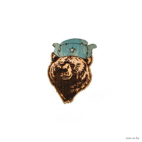 """Значок деревянный """"Медведь в шапке"""" — фото, картинка"""