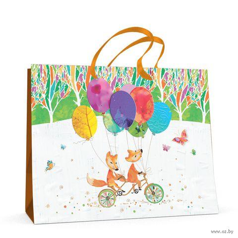 """Пакет бумажный подарочный """"Веселый лис"""" (32,5х26x13 см) — фото, картинка"""