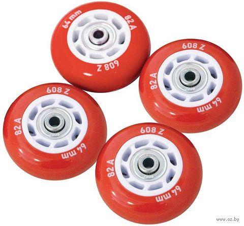 Набор светящихся колес для роликов (4 шт.; ABEC-5; красный) — фото, картинка