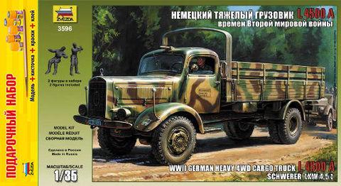 """Сборная модель """"Немецкий грузовик Mercedes L4500A"""" (масштаб: 1/35; подарочный набор) — фото, картинка"""